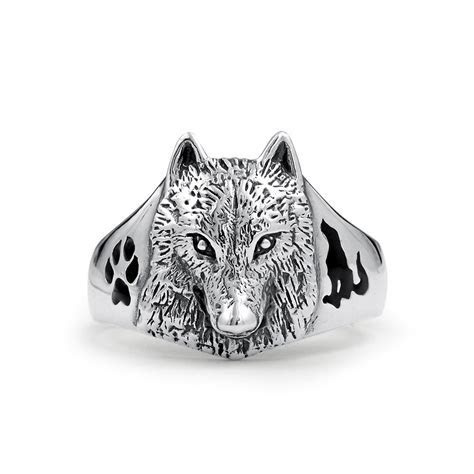 Sterling Wolf Head Black Animal Paw Print Howling