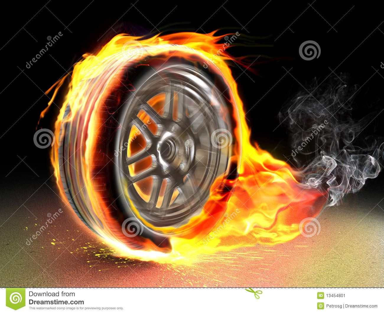 Burning Wheel Stock Image Image 13454801