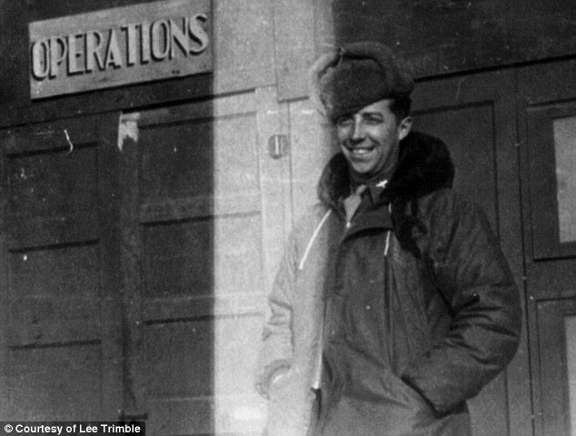In uniform: Captain Robert Trimble outside the Operations Office at Poltava, Ukraine, February 1945.