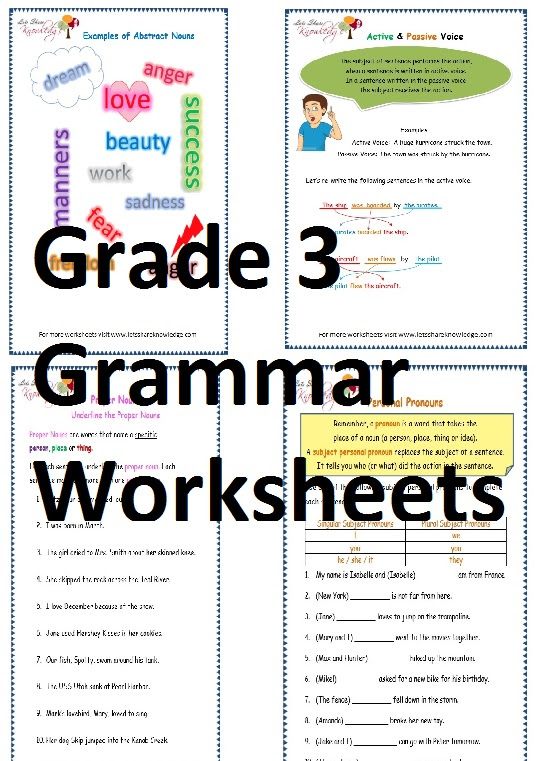 Grade 3 English Grammar Worksheets Lets Share Knowledge