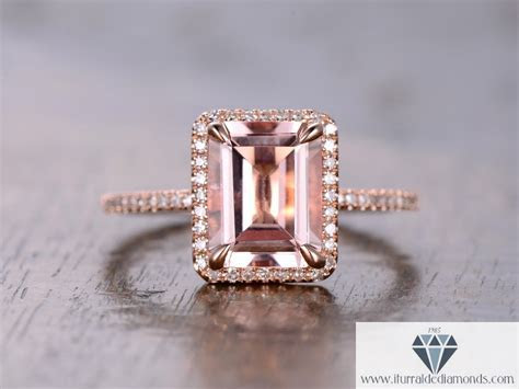7x9mm Emerald Cut Morganite Engagement Ring Diamond Pave
