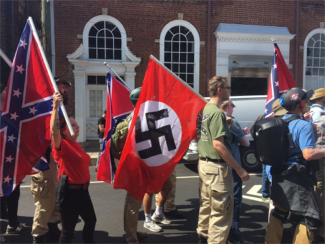 Flags at Charlottesville demonstration