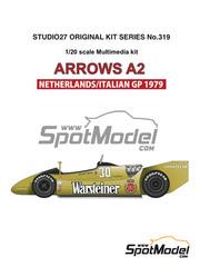 Maqueta de coche 1/20 Studio27 - Arrows Ford A2 Warsteiner Nº 29, 30 - Riccardo Patrese, Jochen Mass - Gran Premio de Holanda, Gran Premio de Italia 1979 - kit multimaterial