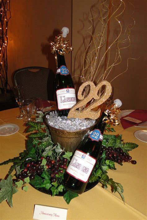 Champagne bottle/bucket centerpiece   40th Birthday Party