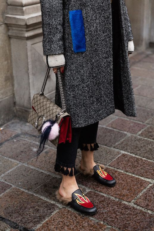 Le Fashion Blog Wool Coat Gucci Bag Tassel Pants Gucci Fur Slides Via The Fashion Fraction