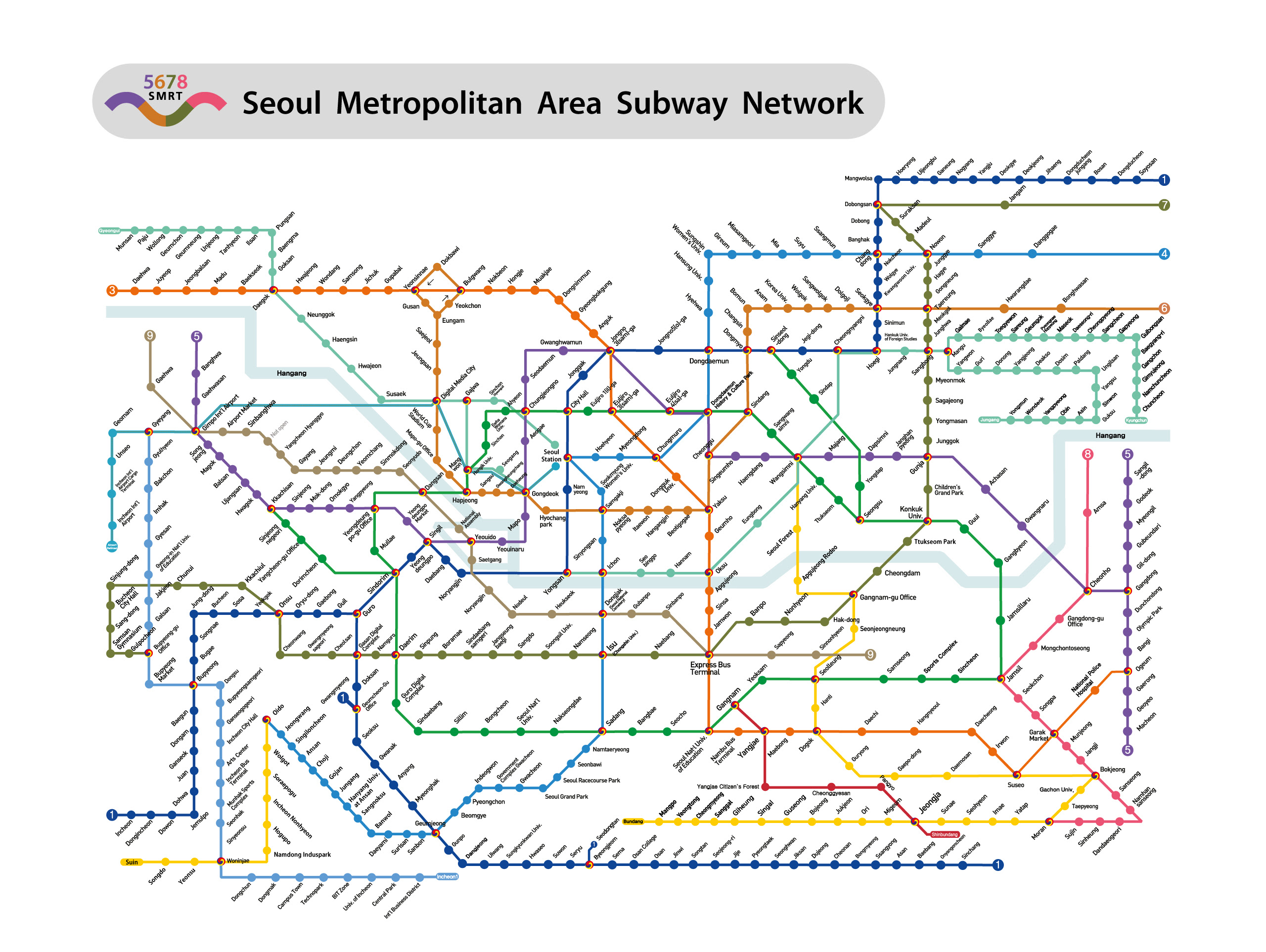 Subway Map 2016.Seoul Subway Map 2016 Time Zones Map