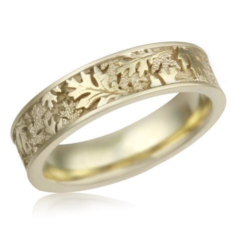 Oak Leaf Eternity Wedding Band In 10K Yellow Gold