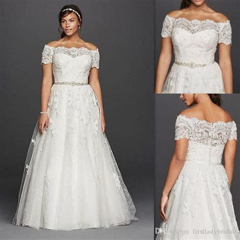 Plus Size Wedding Dresses Off The Shoulder Sheer Lace