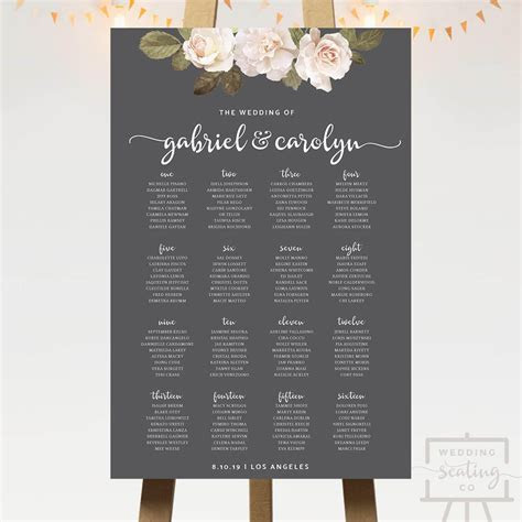 French Florals Wedding Seating Chart   Wedding Seating Co