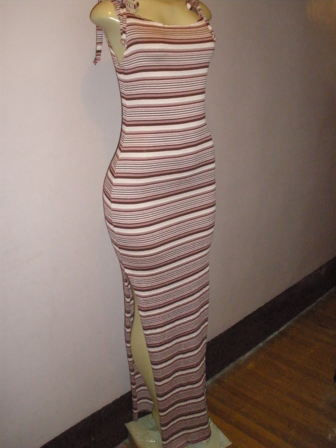Long Tank Top Striped Summer Dress, Long Maxi Beach Sundress, Swimsuit Cover Up Size Medium/Large