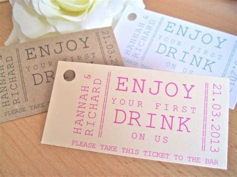 Personalised drink ticket / token wedding favour tag
