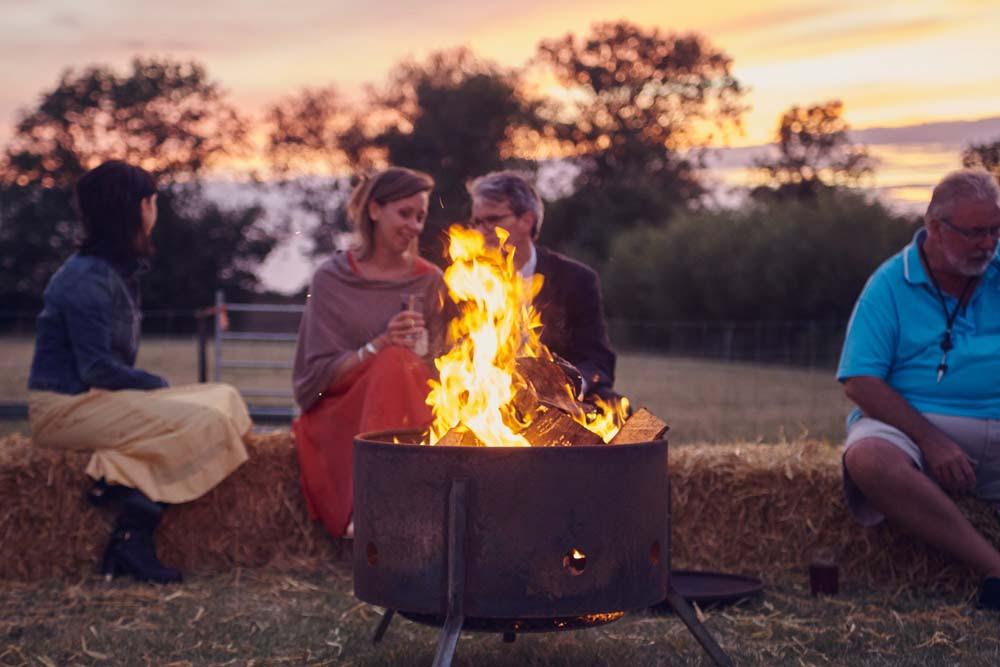 Fire pit at outdoor wedding in Cambridge - www.helloromance.co.uk