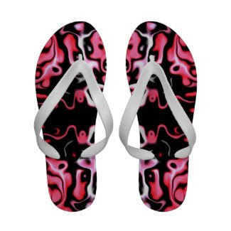 Pink and Black Abstract 544.55 Flip Flops