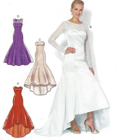 Womens Evening Gown High Low Hem Fishtail Train McCalls