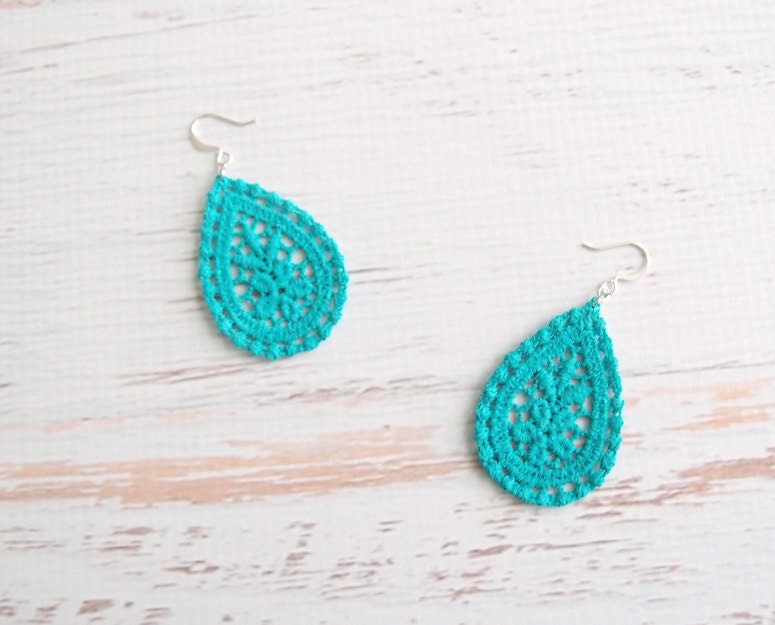 Turquoise Lace Earrings - Amaya - Aqua Bridesmaid Lace Jewelry - Blue Green Dangle Earrings For Her - branchbound
