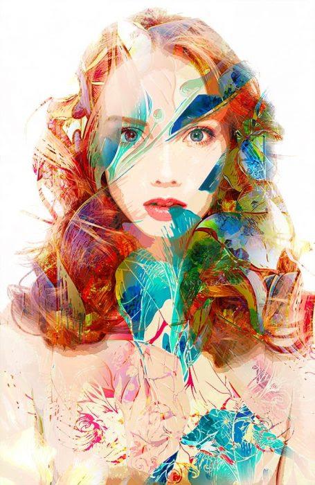 Chân dung của cô gái trẻ xinh đẹp với mái tóc đỏ xoăn trên nền trắng