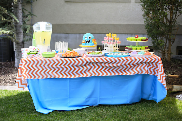Dessert table from a Little Monster Birthday Party on Kara's Party Ideas | KarasPartyIdeas.com (16)