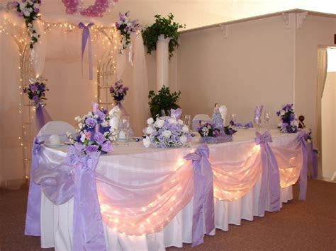 Main table decorations for wedding, head table seating