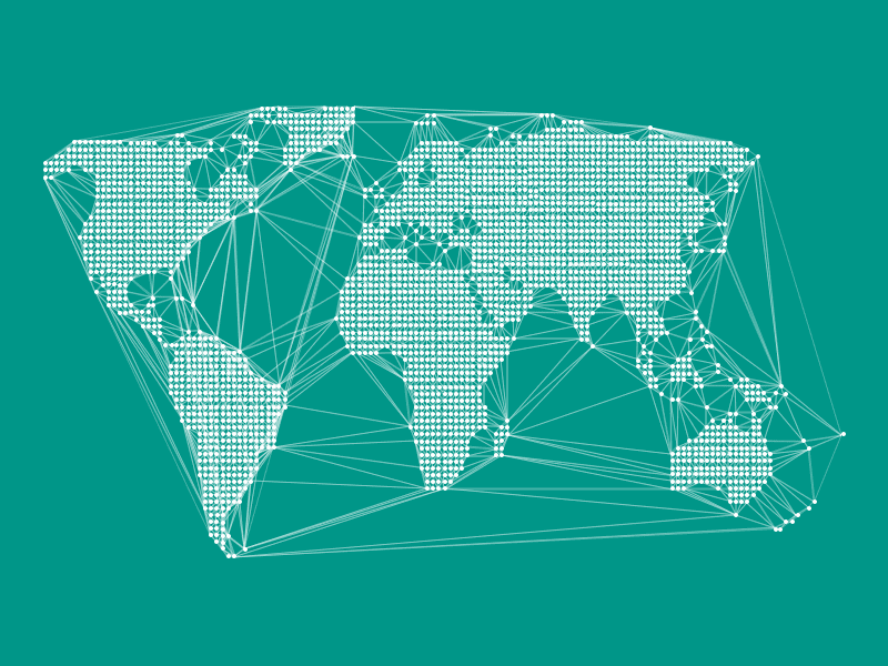 World Dotted Map And Connected Lines Sketch Freebie