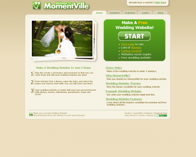 free wedding  website momentville.com