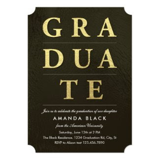Gold Graduate Letters Graduation Invitation