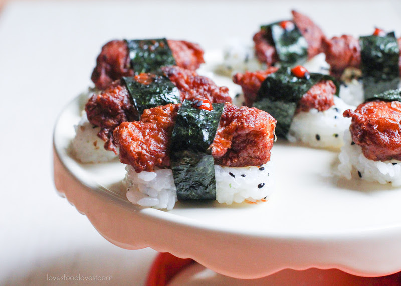 Mochiko Chicken Musubi + Surprise Baby Shower! | Loves Food, Loves to Eat #EmsPigletParty
