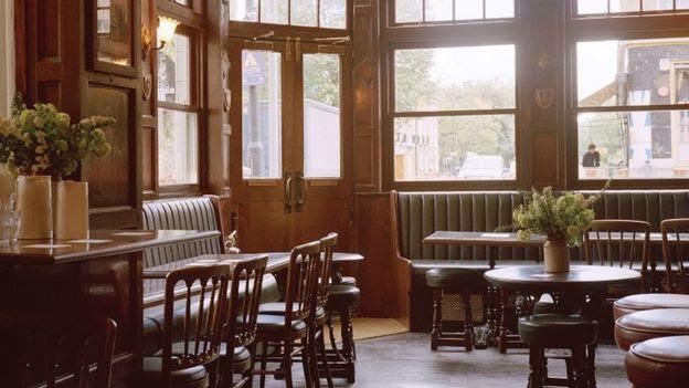 Internal view of the Marksman pub