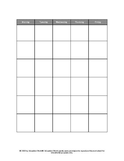 Education World: Five Day Calendar Grid Template