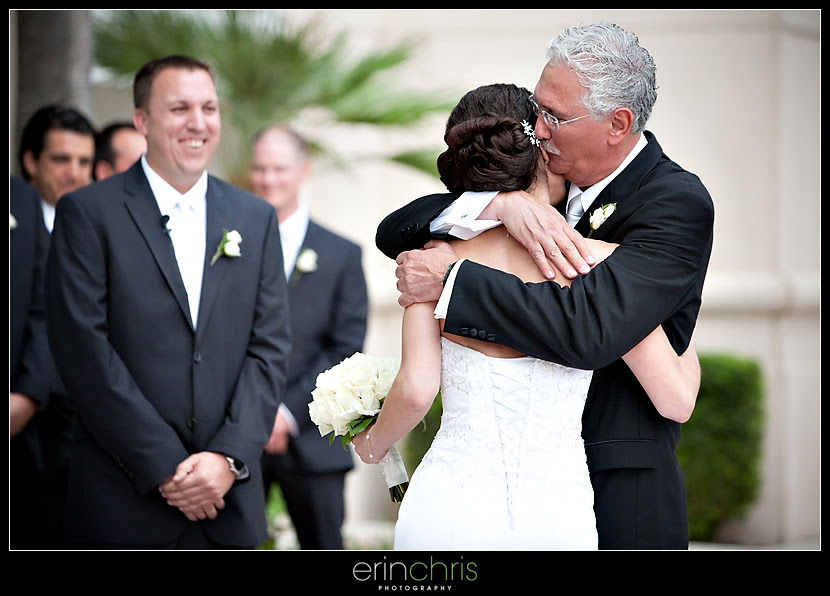 father giving his daughter away to get married at the tampa marriott waterside
