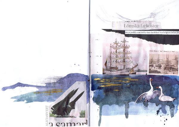 swiftly and deftly, aliciasivert, alicia sivertsson, collage, dagens nyheter, dn, aquarelle colour, aquarelle, aquarelle color, swan, ship, missile, sea, ocean, hav, sjö, skepp, båt, båtar, missil, missiler, akvarellfärg, målat, kollage