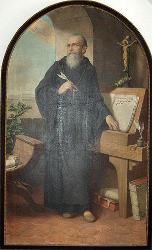 St. Benedict of Nursia writing the Benedictine...