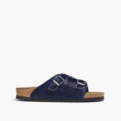 Birkenstock and Madewell Zurich Sandals in Navy Calf Hair