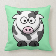Cartoon Cow on Mint Pillow
