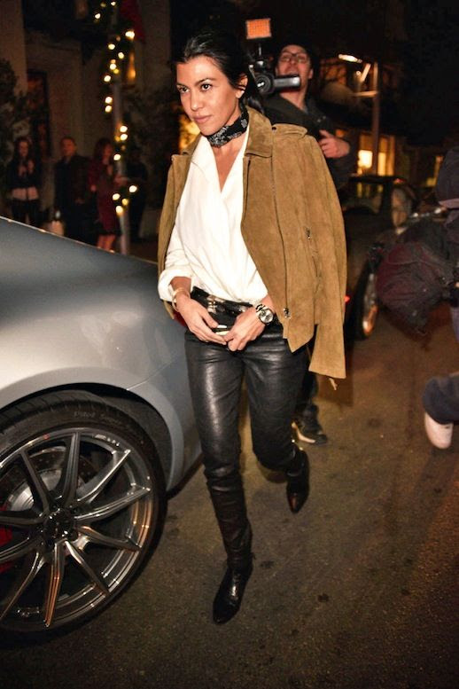 Le Fashion Blog Celebrity Style Kourtney Kardashian Tied Neck Scarf Brown Suede Jacket White Blouse Black Leather Pants Boots Via Harpers Bazaar