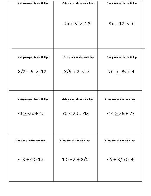 15 Best Images of TwoStep Inequalities Worksheets  One Step Inequalities Worksheet, One Step