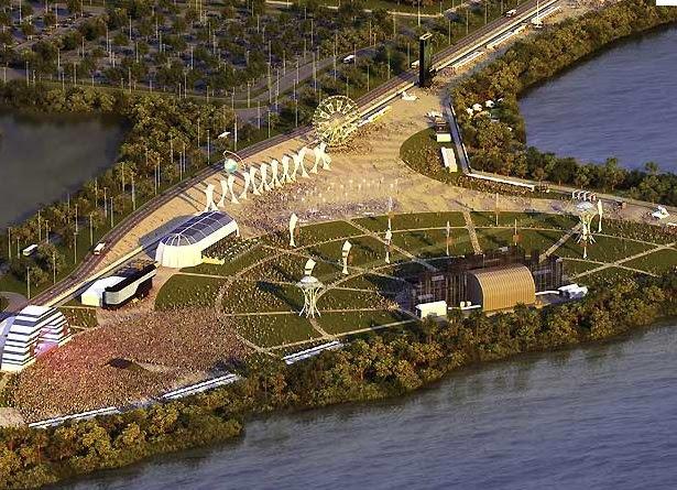 Esboço da cidade do Rock: o projeto foi orçado em 40 milhões e será um local permanente para futuros eventos no Rio de Janeiro.