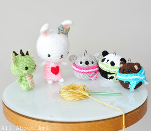 Gather round, everyone!  Check out my most recent amigurumi projects if you haven't so already!  We've got Dragon, Sweetheart Bunny, and the Teddy Ornaments (who would be just as cute as non-ornaments as well :D)!
