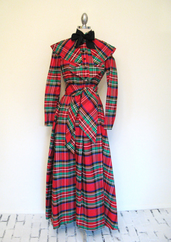 80s Vintage GEOFFREY BEENE PLAID Taffeta Portrait Dress Gown