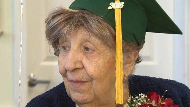 Clare Picciuto is seen with a graduation gap in North Reading, Massachusetts.