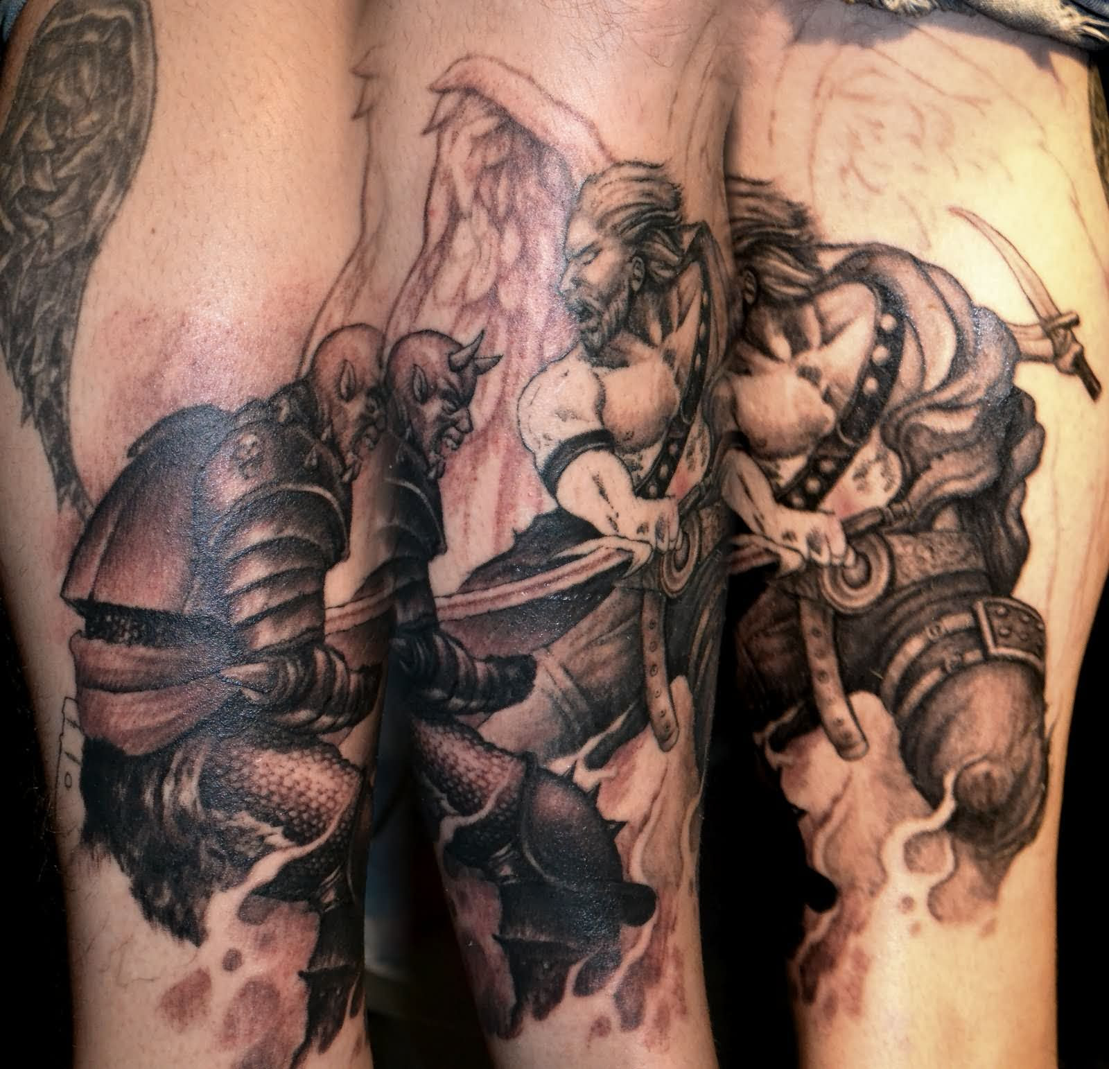 Grey Ink Angel And Demon Tattoo On Arm Sleeve