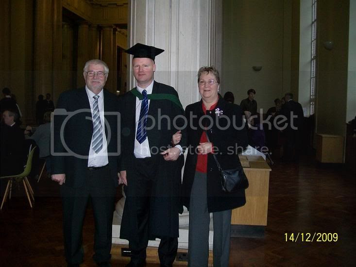 though I was still a graduand at this point.. so 3 degrees.. though the scroll says 4...