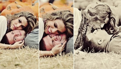 fall pumpkin engagement shoot