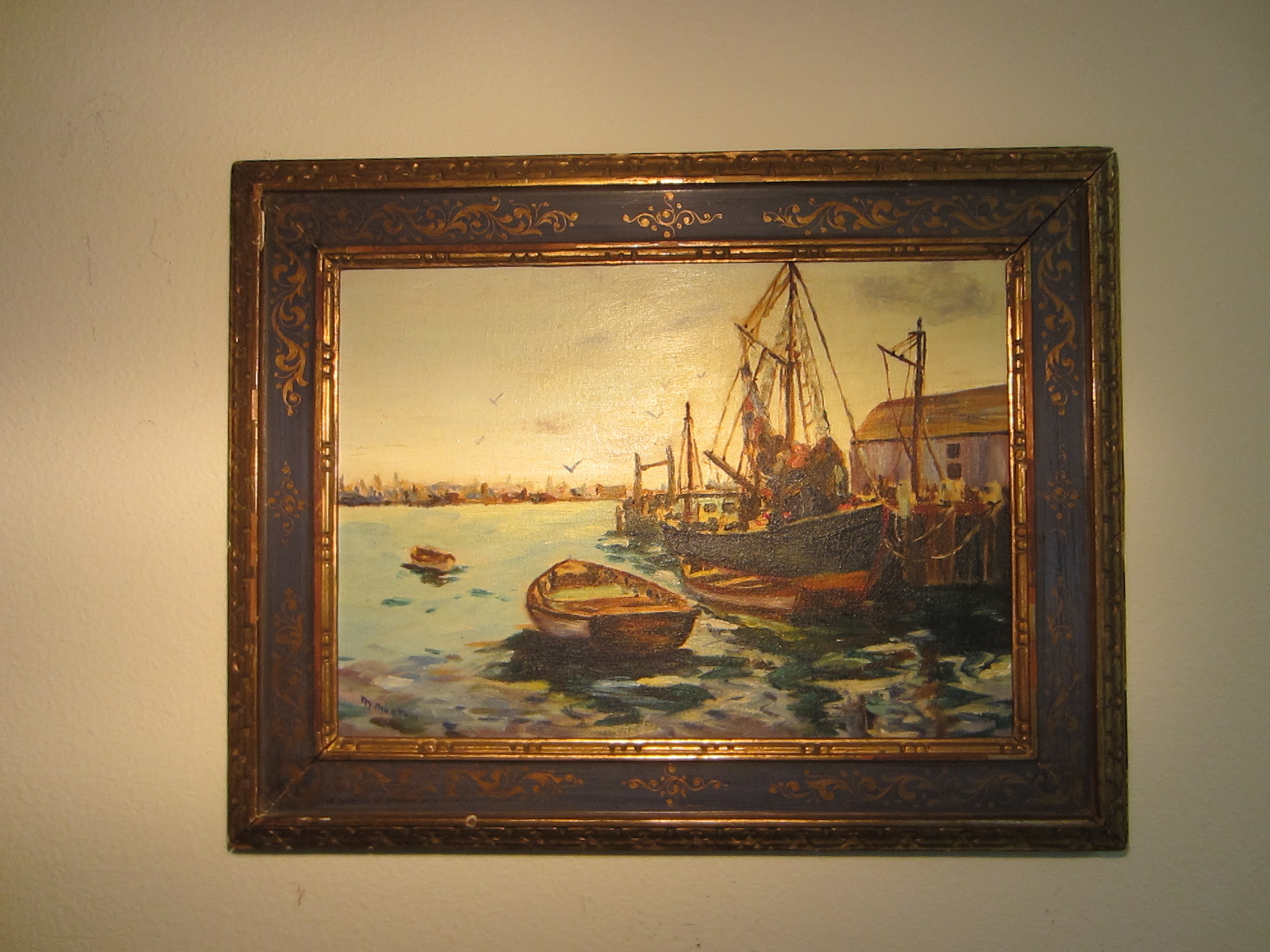 M Morton Seascape Oil On Canvas Board Harbor Boats For Sale