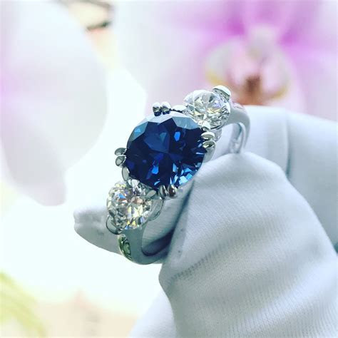 8MM Silver 2ct Simulated Blue Sapphire 3 Stone Wedding