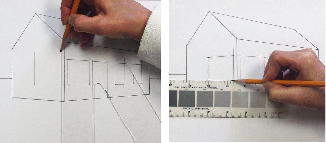 Ein Haus perspektivisch zeichnen mit Fluchtpunkten und ...