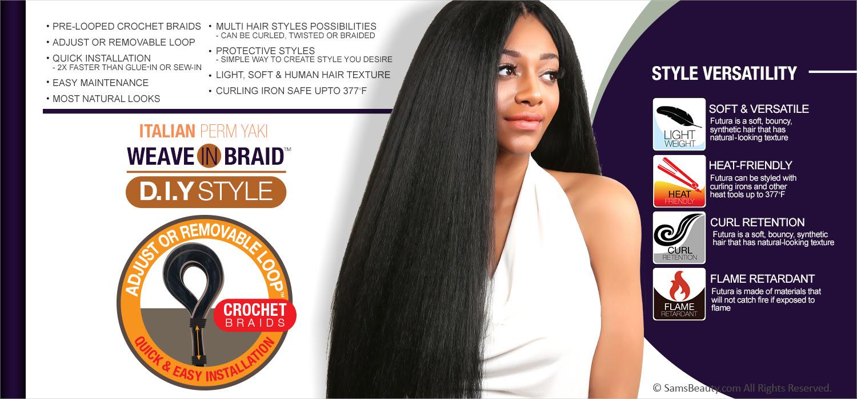 Authentic Synthetic Hair Crochet Braids Pre Looped Italian Perm Yaki