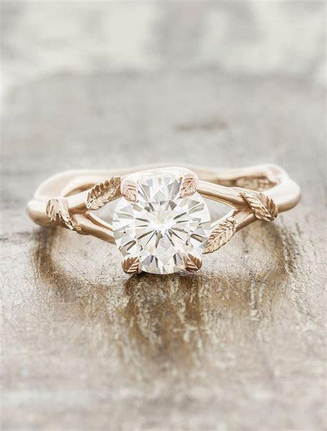 Pembroke: Leaf Prong Diamond Engagement Ring, Rose Gold