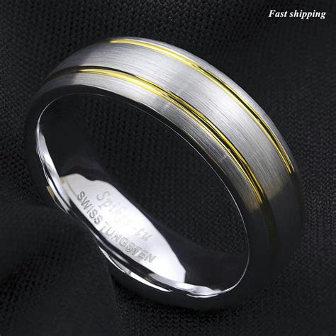mm tungsten ring brushed silver dome  gold wedding