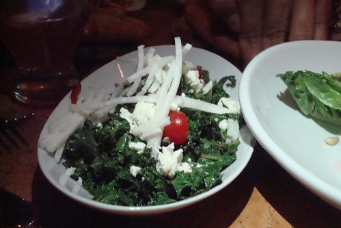JJ Kale salad served raw OR warm seared with garlic & chili, balsamic vinaigrette, topped with julienned jicama.