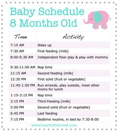 Daily Routine 6 9 months Example of a Daily Routine for a 6 9 ...